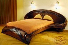 Jugendstil (Art Nouveau) style bed frame from Russian master J. Moshans