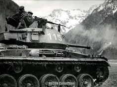 "Austrian M24 Chaffee Original caption ""Shooting exercise at the Dachstein. Shooting exercises under the Dachstein are made by the Austrian tanks in the moment."" Keystone Press Agencey photo. June 6 1956"