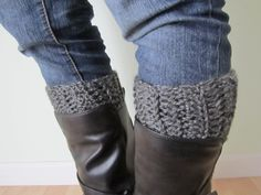 Crocheted Boot Cuffs - Just A Dab on Etsy