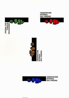 Japanese Poster: International Observation of Prisons. Shigeo Fukuda. 1993
