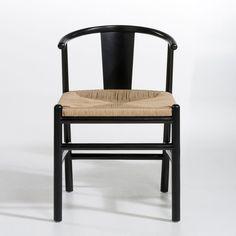 f4d2039cff5f6 Chaise bois clair et PU noir design scandinave japonais WALFORD