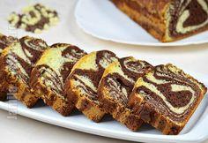 Chec pufos cu cacao / Chec zebra - reteta video | JamilaCuisine Afternoon Tea Cakes, Romanian Food, Sweet Memories, Yummy Cakes, Banana Bread, Deserts, Good Food, Food And Drink, Favorite Recipes