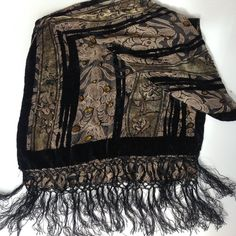 bf085dac83669 Vintage fringe velvet scarf - Black fringe, Black Paisley Scarf, Gold  pattern burnout Hippie bohemian gypsy scarf - skinny scarf neck tie