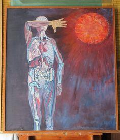 """Creation""  B.R.Barber 1968 oil on canvas 70x80cm."