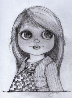 Pop Art Minis: #Sketches In Black & White! #Blythe Inspired Delights!