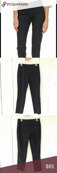 "EUC Theory Pinstripe Virgin Wool Ankle Pants EUC. No rips, tears, stains, etc.  Size 2. 14.5"" waist flat across, 18"" hips flat across, 28"" inseam.  98% Virgin Wool, 2% Elastane.   Beautiful! Theory Navy and cream classic pinstripe, Virgin Wool blend ankle pants. Pinstripe is less prominent than 1st photo. Very light stretch. These feel like business slacks. Classy and dressy enough for the office, casual enough for a Saturday afternoon trip to your favorite outdoor market! Pair with a blouse…"