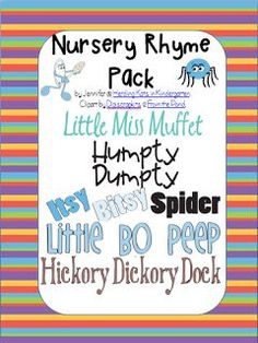Nursery Rhyme Pack - Twinkle Twinkle Little Star,  Little Bo Peep,  Little Miss Muffet,  Hey Diddle Diddle,  Hickory Dickory Dock,  Baa, Baa, Black Sheep,  Humpty Dumpty,  Diddle Diddle Dumpling,  Itsy Bitsy Spider