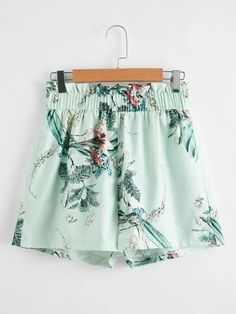 ((Affiliate Link)) Description Style:	Boho Color:	Mint Green Pattern Type:	Floral Details:	Frill, Paper Bag Waist Type:	Wide Leg Season:	Summer Composition:	100% Polyester Material:	Polyester Fabric:	Non-stretch Sheer:	No Fit Type:	Regular Waist Type:	Mid Waist Closure Type:	Elastic Waist