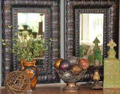 Old World Living Room Ideas | elow the cabinet, I hung two old world beveled mirrors and created a ...