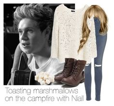 """""""Toasting marshmallows on the campfire with Niall"""" by style-with-one-direction ❤ liked on Polyvore featuring Topshop, MANGO, OneDirection, 1d, NiallHoran and niall horan one direction 1d"""