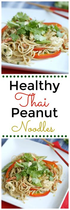 Healthy Thai Peanut Noodles! This dish is a family favourite! Healthy and yummy.
