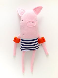 I can see summer while ogling at This Mr Pig Plushie armed with floaties by Finkelsteins // via muymolon // Softies, Plushies, Fabric Toys, Paper Toys, Ideias Diy, Sewing Toys, Soft Sculpture, Doll Patterns, Bear Patterns