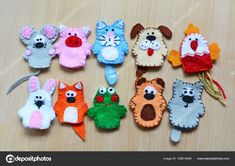 10 Felt Finger Puppets Mouse Pig Stock Photo (Edit Now) 524193901 Felt Finger Puppets, Hand Puppets, Puppets For Kids, Little Red Hen, Felt Quiet Books, Operation Christmas Child, Busy Book, Minnie, Kids Toys