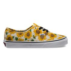 The Sunflower Authentic, Vans original and now iconic style, has a simple low top, lace-up canvas upper with an all-over sunflower print, metal eyelets, Vans flag label and Vans Original Waffle Outsole.