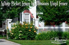 This Beautiful American Dream White Picket Fence Style by Illusions Vinyl Fence is a Perfect Example of How Your Fence Can Add Curb Appeal to Your Home. Front Yard Fence, Pool Fence, Backyard Fences, Fence Gate, Garden Fencing, Fenced In Yard, Bamboo Fencing, Small Fence, Brick Fence