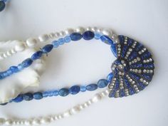 White and Blue ./. Rhinestone Pendant ./. Collier by BijouxEmmElle