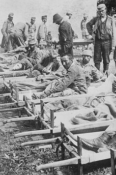 Italians wounded in the Isonzo River Valley, a mobile and much more lethal front compared to the mainly defensive mountain trench positions. Early successes by the Italians against the Austrians in the Isonzo were negated when German troops propped up the sagging Austrian Army and launched combined Austro-German attacks. 1916