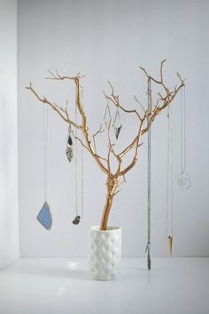 Jewelry storage diy - Jewelry Holder Tree Gold Organizer painted necklace hanger bedroom decor for her – Jewelry storage diy Necklace Hanger, Tree Necklace, Diy Necklace Holder Tree, Diy Necklace Display, Diy Necklace Stand, Earring Hanger, Jewelry Hanger, Gold Necklace, Jewellery Storage
