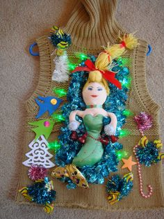 dEb's tacky lights up mermaid woman's xl fish ugly christmas sweater party winner by keriblue4 on Etsy