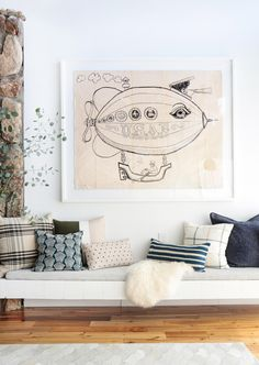 18 No Fail Pillow Combos - emily henderson living room, bench seat beside fireplace, arranging pillows, gray pink and white color accents Interior, Home Decor Decals, Living Room Decor, Emily Henderson, Pillow Combos, Home Decor, Room Decor, Pillows, Trending Decor