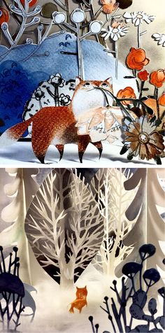 Cut paper diorama by Kelly Pousette // 3D paper illustration // paper craft // paper art