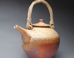 Wood Fired Teapot with Handmade Cane Handle C26