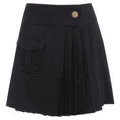 High Waist Pocket Pleated Skirt ($23) ❤ liked on Polyvore featuring skirts, knee length pleated skirt and pleated skirt