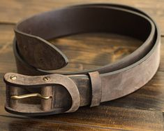 Personalized Leather Belt, Distressed Leather Belt, Belt, Leather Belt - Boone | Chestnut Brown
