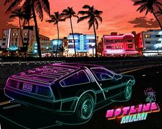 Neon DeLorean Hotline Miami Artwork