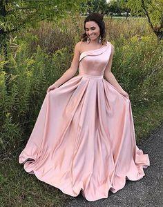 Pink satin one shoulder prom dress, pink evening dress a-line floor length,HS044