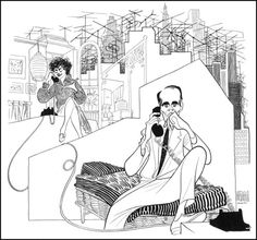 Al Hirschfeld (1958)  Two For The Seesaw  Anne Bancroft And Henry Fonda