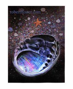 abalone shell art print, seascape painting, ABALONE art, shell, starfish, on Etsy, $17.00