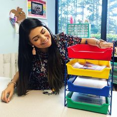 Keep your home or classroom space organized with this colorful Turn-In-Your-Work Organizer. It keeps track of students' homework, lesson plans or anything else you need within reach! 📷 @fiestaintheclass #backtoschool #classroom Homework Organization, Desktop Organization, The New School, New School Year, Grammar Activities, Teaching Resources, Sister Day, White Bear Lake, Back To School Essentials