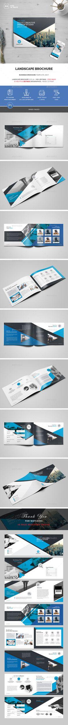 Busines Landscape Brochure Template PSD