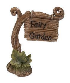 Miniature World MW03-020 Vine Fairy Garden Post Sign Ornament - Brown