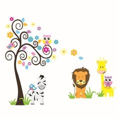 Cute Forest Animal Friends Cartoon Wall Stickers Children Room Decoration Owl and Lion Zebra Play Under Tree For Kids MeleStore Wall Stickers Owls, Owl Wall Decals, Nursery Wall Stickers, Sticker Mural, Room Stickers, Wallpaper B, Wall Stickers Wallpaper, Cartoon Giraffe, Cartoon Wall