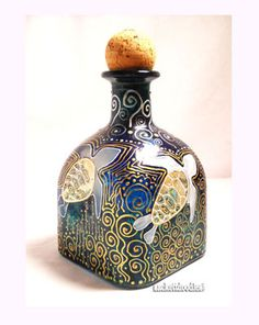Gold Scrolled Blue Sea Turtle Decanter Patron Bottle Art on Glass Made To Order