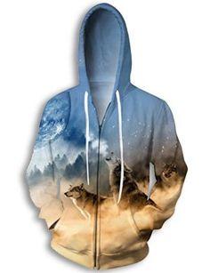 Wolf Moon Zipper Hoodie Sweatshirts Cool Fall Winter Long Sleeve Jacket Coat