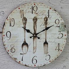 I would love this clock for my kitchen. Decoupage Vintage, Shabby Vintage, Vintage Walls, Unique Clocks, Cool Clocks, Diy Clock, Clock Decor, Shabby Chic Signs, Shabby Chic Decor