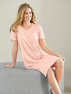 Knee-length spunsilk modal nightshirt is buttery soft for the most comfortable slumber and is gently shaped just for her. #nightshirt #silk #wintersilks