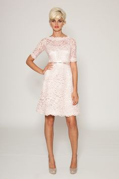 A-Line, Gorgeous Blush Pink Lace Knee Length Sheath Dress With Grosgrain Belt Half Sleeve And Boat Neck: Marvelous Boat Neck Wedding Dress