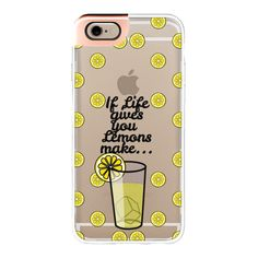 """""""""""If Life Gives you Lemons Make Lemonade"""""""" Black Text Typography on... ($50) ❤ liked on Polyvore featuring accessories, tech accessories, phonecases, iphone case, apple iphone cases, transparent iphone case, iphone cases and iphone cover case"""