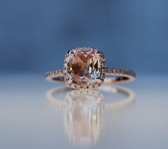 1.83ct Square Cushion Peach Champagne Sapphire 14k rose gold diamond  Engagement Ring via Etsy