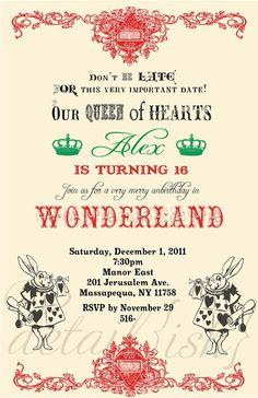 alice in wonderland sweet 16 invitations - Pesquisa Google