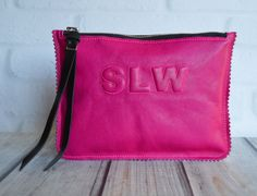 Small Pop Pink Leather Clutch pouch with monogram by JillBrodeur