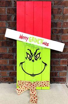 Reversible Scarecrow Grinch Pallet Sign Porch Decor Porch