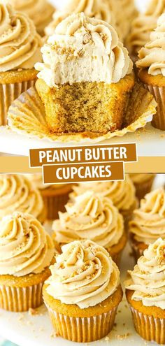Soft and fluffy Peanut Butter Cupcakes are topped with a creamy homemade peanut butter frosting in this delicious recipe! It's a peanut butter lover's dream dessert! Peanut Butter Cupcakes, Peanut Butter Frosting, Homemade Peanut Butter, Peanut Butter Chips, Creamy Peanut Butter, Fun Cupcakes, Cupcake Cakes, Heavenly Dessert Recipe, Cupcake Recipes