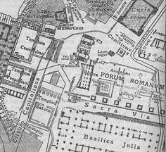 Map of the ancient Forum Rome showing  location of early features: Umbilicus Urbis & Vulcanal, an open-air altar on the slopes of the Capitoline Hill in Rome in the area that would later become the Comitium.