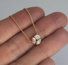 Elegant genuine diamond necklace with three marquise diamonds set in round shape. Classic necklace f Diamond Necklace Simple, Diamond Solitaire Necklace, Diamond Pendant Necklace, Diamond Jewelry, Gold Jewelry, Jewelry Accessories, Diamond Necklaces, Gold Necklaces, Diamond Choker