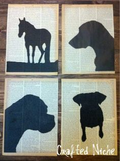 Vintage book page silhouette wall decor art - 7 Budget Friendly and Recycled Craft Ideas - perfect for a rainy day activity to DIY the night away! Great for an Earth Day project, too!